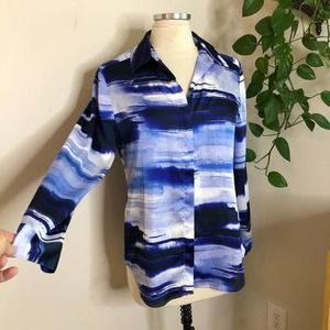 Chico's shades of blue silky top blouse small